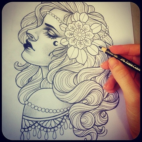 Probably going to paint this, available to be tattooed aswell #tattoo #gypsy #sandraovenden@stephrpace