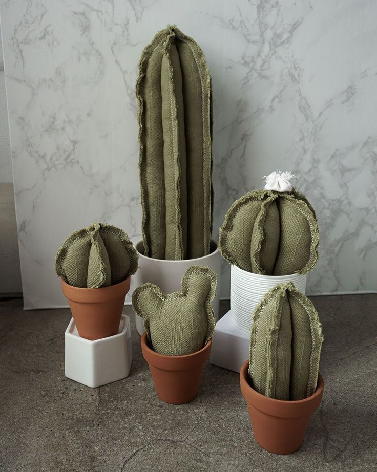 Beloved Lane | Plush cacti with pot.  All are handmade in LA, upcycled from vintage/ remnant fabric. Shop local!