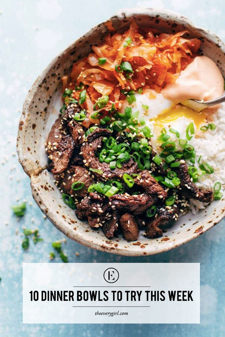 10 Dinner Bowls to Try This Week  #theeverygirl #recipes easy dinner recipes