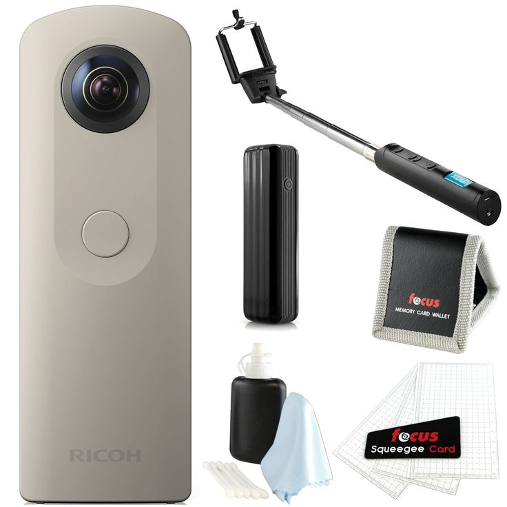 Ricoh Theta SC 360 video and still camera Beige with Focus accessory bundle. 360-degree fully spherical images and videos | Full HD video at 30fps. Compatibility with both iOS and Android | Wireless sharing. Small and easy to use |LED indicator provides power indication. Theta+ App Video editing app for Android and iOS. Camera comes with 8GB of storage and can store up to 1,600 still images.