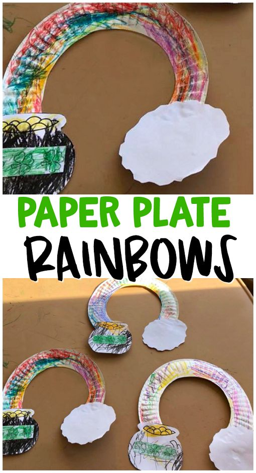 Paper plate rainbow pot o' gold - fun st patricks day craft for kids to make! So easy and cute. Rainbow cloud art project