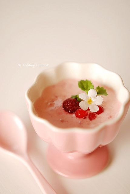 Japanese desert decorated with tiny flowers and sprig of mint