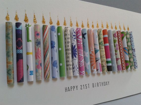 This 21st birthday card has 21 hand rolled paper candles on it with glittering flames. It can also be customised for ages 20,22,23,24,25,26,27,28,29.  I can personalise this card on request by adding a name to the front (see last picture for example). Just add a note to your order with the name you want adding.  Female cards will be made using a more feminine selection of colours and papers and male in a more masculine selection.  Due to the handmade nature of this card each one will be…