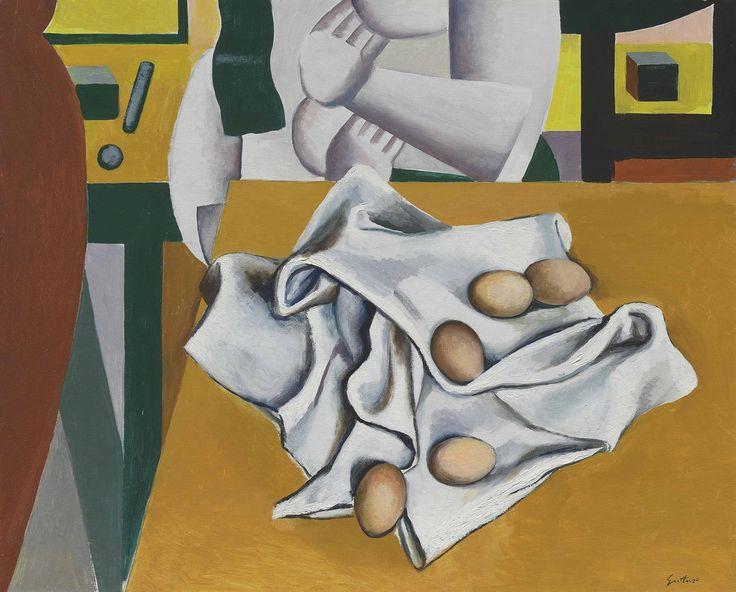 Renato Guttuso (Italian, 1912-1987), Uova su panno e omaggio a Léger [Eggs on a Cloth and Homage to Léger], 1973. Oil on canvas, 65 x 81.2 cm.