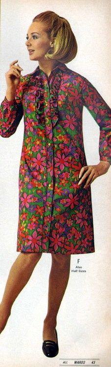 1960's fashion-shirt dress with twister ruffles