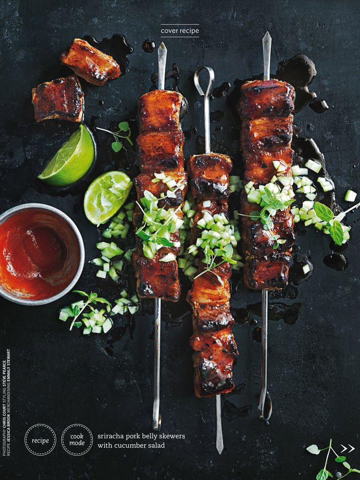 Sriracha Pork Belly Skewers - Donna Hay Magazine Summer 2016, Food photography, food styling
