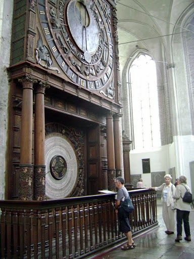 The famous astronomical clock created in 1472. It includes a calendar which will have to be reset for the first time in 2017. Inside St. Mary's Church. Rostock, Germany. Photo by Alan Osborn.