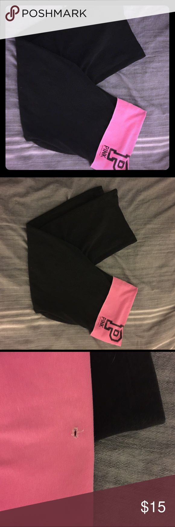VS pink capris Stretchy material-- VS PINK Capri leggings. Used but still in good shape aside from a small hole on the top fold over portion. PINK Victoria's Secret Pants Capris