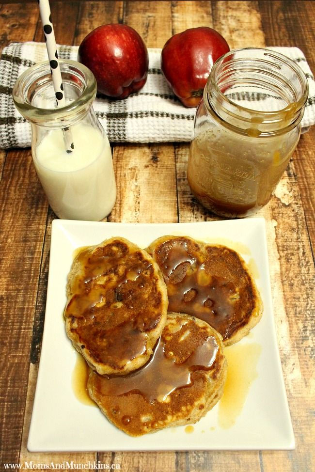 These Apple Cinnamon Pancakes are really easy to make & the caramel syrup almost makes them taste like dessert for breakfast! A delicious treat for brunch.