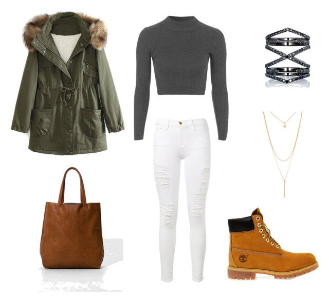 """Untitled #444"" by wali-emna on Polyvore featuring Eva Fehren, Topshop, Frame Denim, Timberland, WithChic, Bershka and Forever 21"