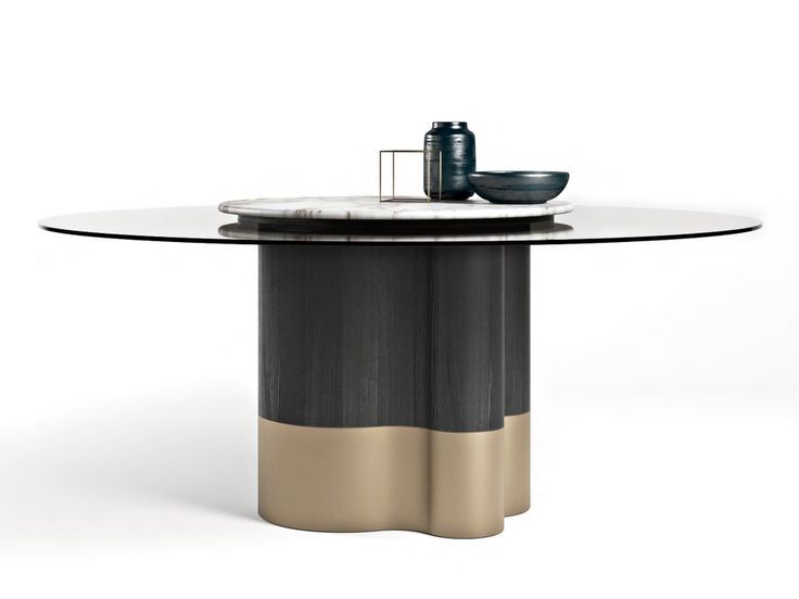 Wood And Glass Table With Lazy Susan Marygold By Formitalia