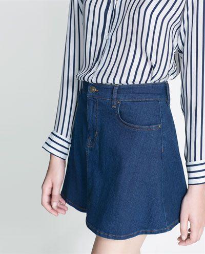 Image 4 of DENIM SKATER SKIRT from Zara $60