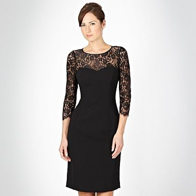 Pearce Fionda black lace sleeved shift dress