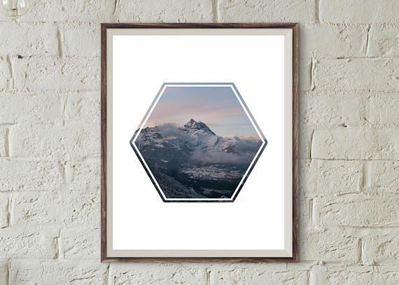 Geometric Mountain Photo Art Print-Polygon Shape Instant