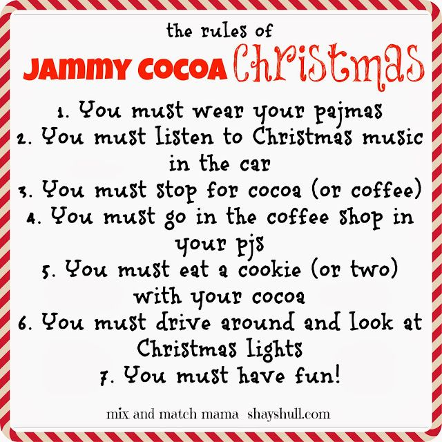 such a cute family tradition. Jammy cocoa Christmas. Shay shull