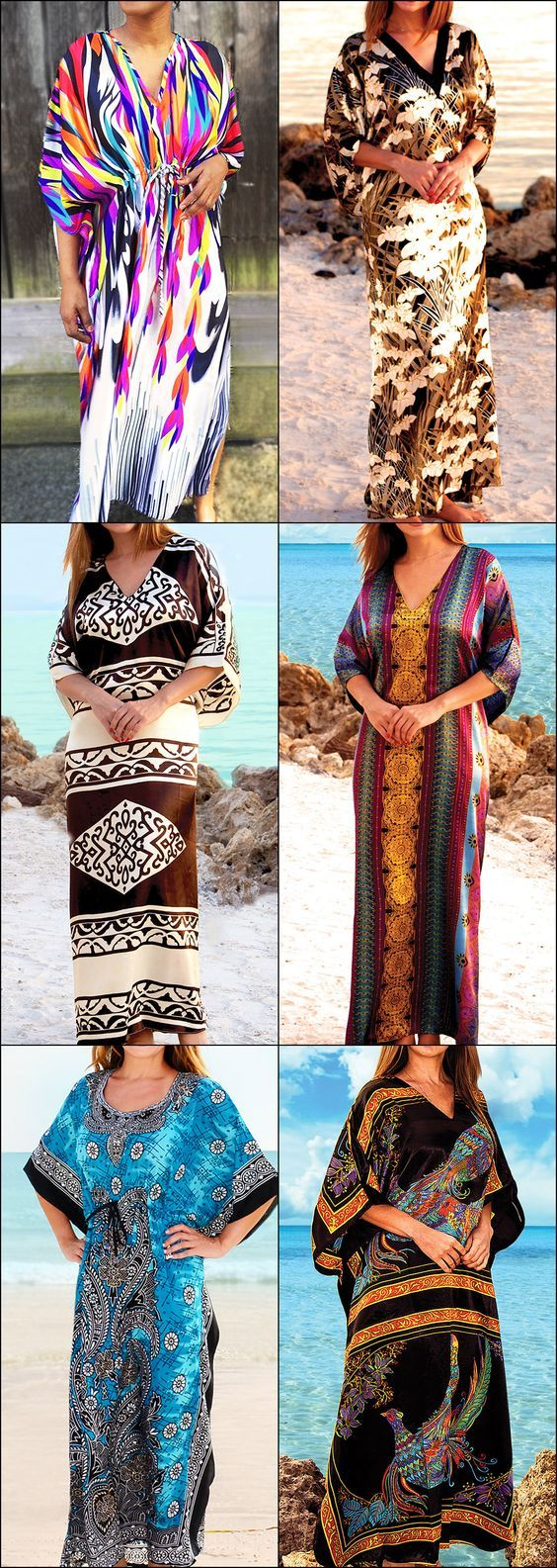Gorgeous Caftan Dresses 65% off retail price! So many patterns to choose from, NEW for 2018! These silky Caftans are both breezy and comfortable, perfect for the beach or lounging around your house!
