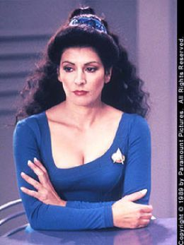 "Marina Sirtis as Councillor Deanna Troi on ""Star Trek: The Next Generation."""