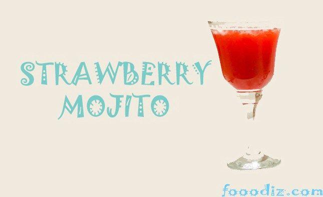 strawberry mojito,strawberry mojito moktail,moktails,mojito,mix strawberry,fooodiz.indian food items