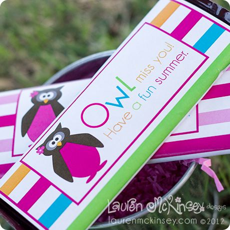 what a fun way to let your teachers and classmates (or students) know that you will miss them this summer. these adorable and fun candy bar wrappers will do just that!