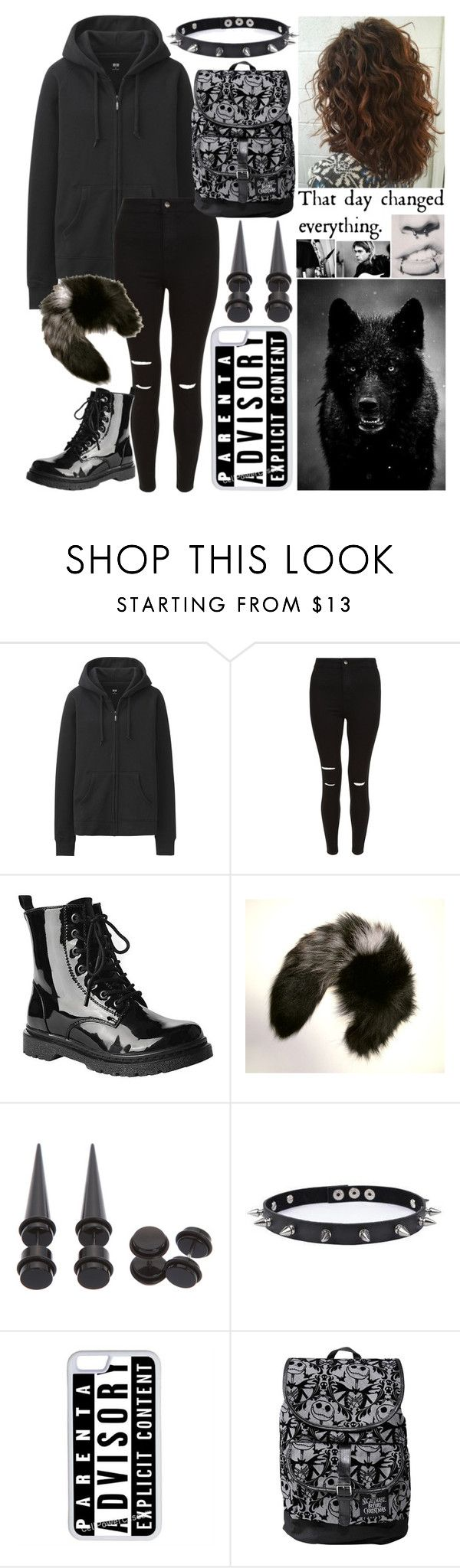 """""""🔪~ i'll dot your i's and cross your fvcking t's"""" by whisperwolf22 ❤ liked on Polyvore featuring Uniqlo, New Look, Gia-Mia, Maison Kitsuné, Trend Cool, CellPowerCases and Disney"""