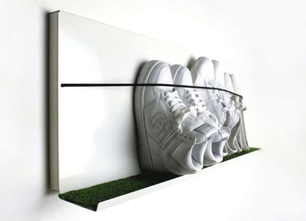 Wall-Mounted Sneaker Racks - Martina Carpelan's Shoe Shelf Keeps Footwear Off the Ground (GALLERY)
