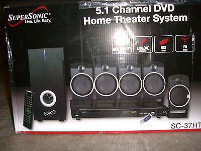 Home Theater Systems: Supersonic Sc37ht 5.1 Channel Dvd Home Theater System + Radio,Karaoke/Usb Input! -> BUY IT NOW ONLY: $40 on eBay!
