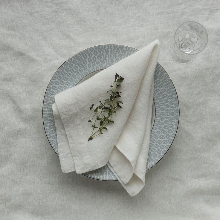 Blanco Set de servilletas servilletas de lino blanco