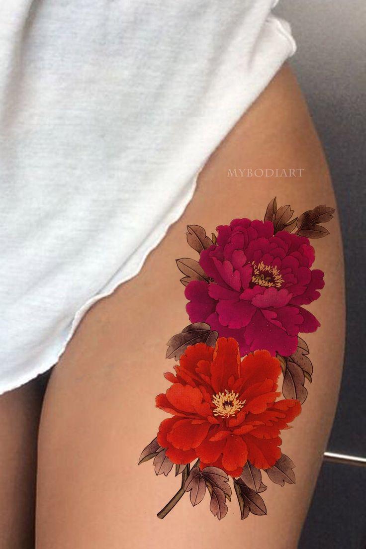 Vintage realistische rote Aquarell Pfingstrose Blumen Blume Oberschenkel Tattoo Ideen für Frauen …