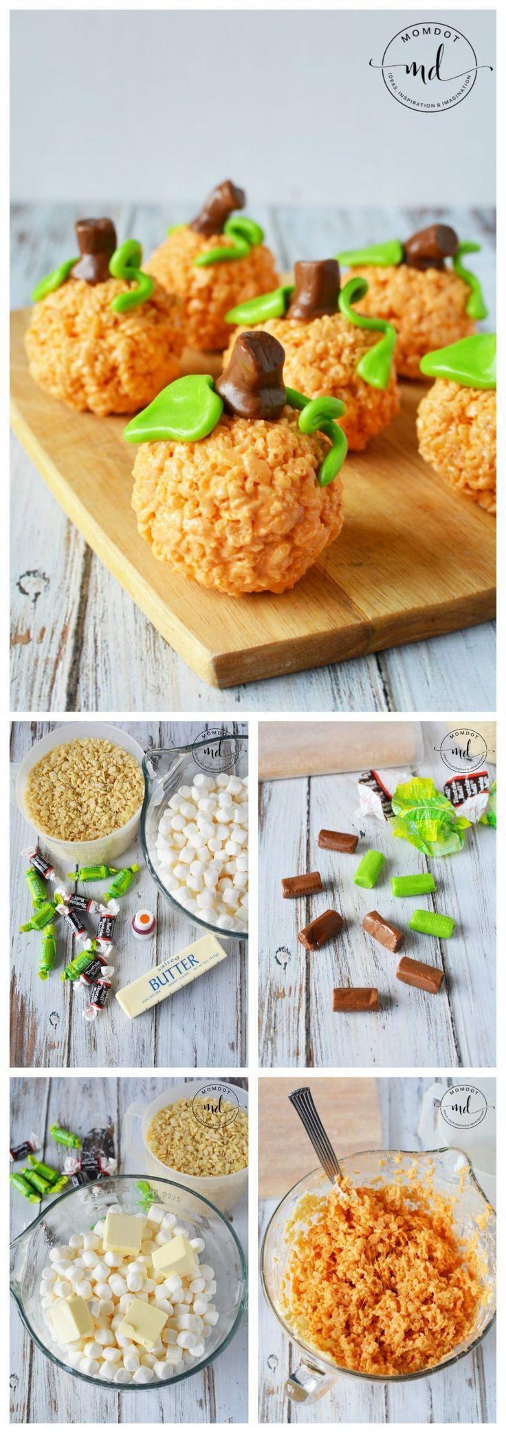 Pumpkin Rice Krispie Treats Recipe, How to make Pumpkin rice krispie treats with tootsie roll stump and leaves #recipe #ricekrispies #tutorial #thanksgiving #halloween #howto #DIY
