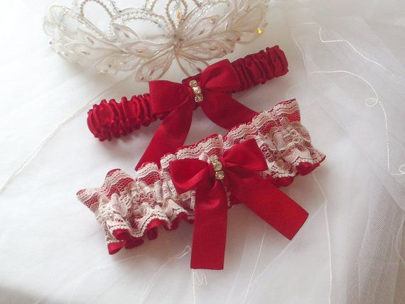 Wedding Garter Set  Red Garters with Ivory