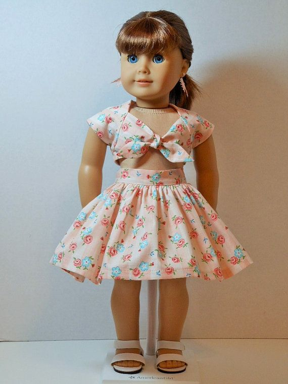 1950's Midriff Top Skirt and Shorts for 18 Dolls by ThreadsOfTroy. $50.00