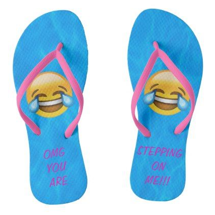 0064a9de3cad0  Emoji Water OMG You are Stepping On Me Flip Flops -  womens  shoes   womensshoes  custom  cool