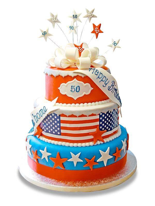 PuurTaart :: Taartengalerij - Verjaardag taart Amerika - Birtday cake American