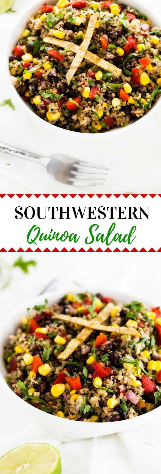 Southwestern Quinoa Salad - #vegan #glutenfree #quinoa  This Southwestern Quinoa salad is a vegan quinoa salad that even omnivores will love!  Colorful, delicious and packed with plant-based nutrition.