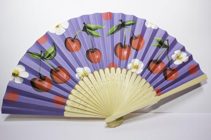 Ventagli in legno e carta rockabilly fantasia ciliegia e fragola di Lindymarket su Etsy