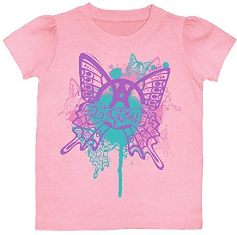 Aerosmith Butterfly Toddler Tee Shirt, Pink (2T)