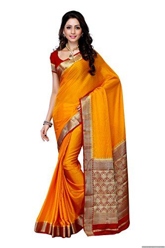 cool Mimosa Women'S Creap Silk Saree With Blouse,Color:Gold(3200-2077-MGLD-RMRN)