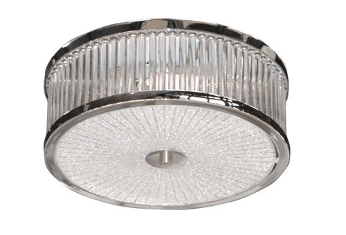 Part of our Cosmopolitan range, this art deco inspired piece is a ceiling flush piece with 3 lights. Chrome finish with Glass shade.<BR>3x E14 40W<BR>Matching pieces available.<BR>, leeks, £68