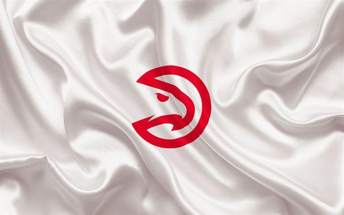 Descargar fondos de pantalla Atlanta Hawks de la NBA, con el emblema del club de baloncesto, estados UNIDOS, baloncesto