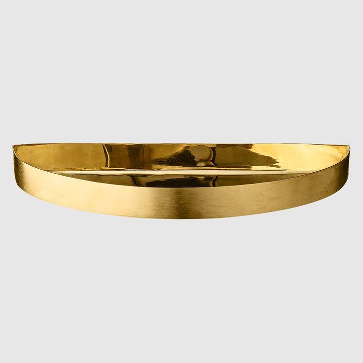 Unity half circle tray - brass, H 2 cm | L 21,5 cm | W 11 cm