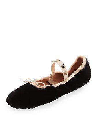 Rockstud+Velvet+Ballerina+Flat+by+Valentino+at+Bergdorf+