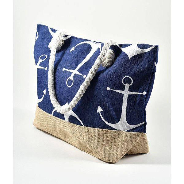 Retro Style Navy Anchor Nautical Beach Tote ($15) ❤ liked on Polyvore featuring bags, handbags, tote bags, multicolor, blue tote bag, anchor tote bag, zippered beach tote, woven tote and woven beach bag