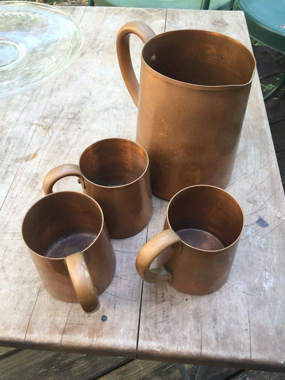 1970's Copper Serving Set Moscow Mule Cups by RetroUrbanWares