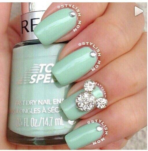 Mint Green & Diamond Nails ⊱╮