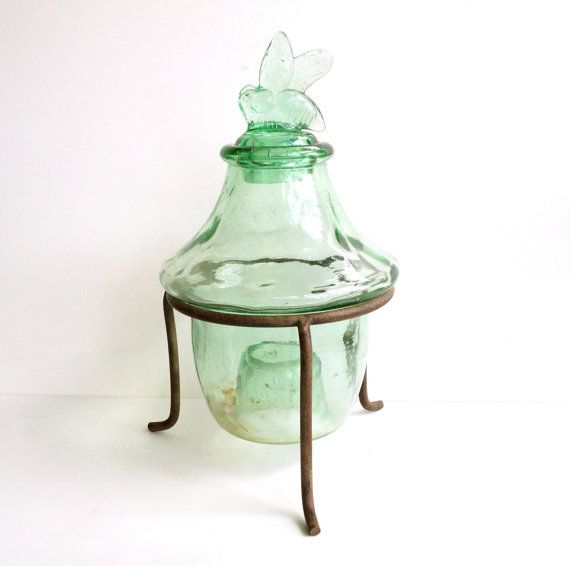 "Vintage / Antique Wasp, Bee Catcher / Fly Trap in Green Glass with Cast Iron Stand (12"" tall) - Home Decor, Garden Decor, Unique Vase"
