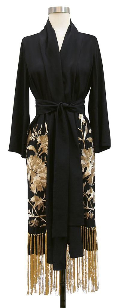 Trashy Diva Flapper Robe in Black Rayon and Gold Floral Embroidery #lingerie