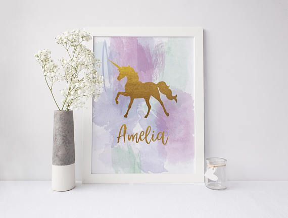 Unicorn Nursery Poster Girls Room Print Personalised Poster