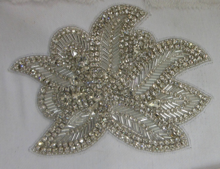 2 pieces Hand Made Embroidered Rhinestones Appliques for sash, Hair Band,Hair Comb, Bridal dress etc.. $39.00, via Etsy.