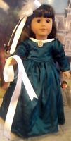 VICTORIAN GREEN Satin Lace & CAMEO GOWN Dress & HAIR BOW for American Girl Doll