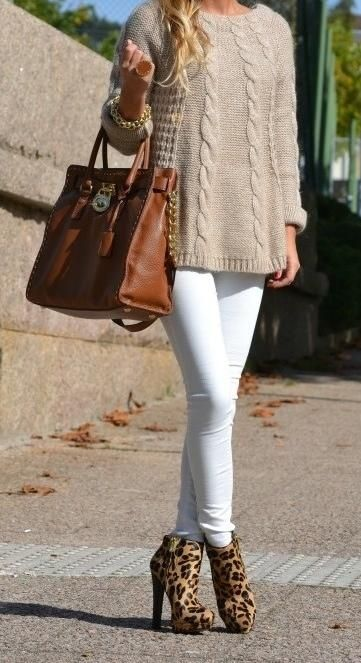 Oversized Sweater and Leopard Pumps